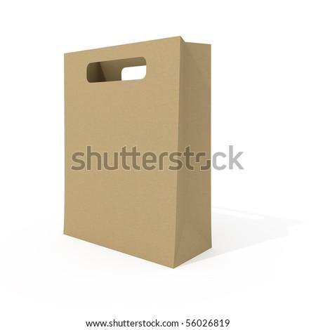 Blank shopping bag isolated on white background - stock photo