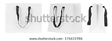 Blank shopping bag set isolated on a white background. Paper bags with copy space - stock photo