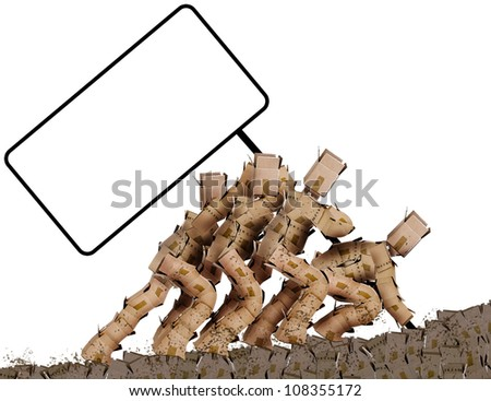 Blank sign being raised by team of muddy worker  box men characters - stock photo