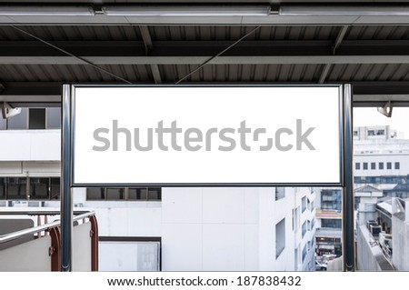 blank sign board in sky train station - stock photo