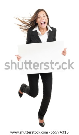 Blank sign business woman. Funny full length of young woman holding white empty billboard or placard. Beautiful mixed race chinese asian / caucasian woman isolated on white background. - stock photo