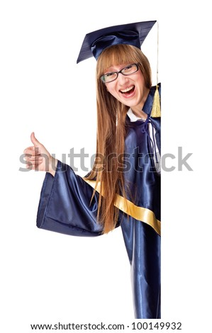 Blank sign - Graduate. Isolated over white - stock photo