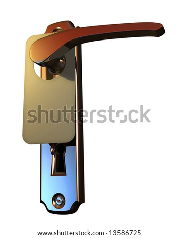 Blank sign hanging from hotel door handle isolated on white background - 3d render - stock photo