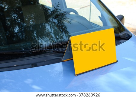 Blank sign on car - Sell or rent a car concept - stock photo