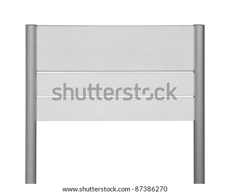 blank sign on stakes in white back - stock photo