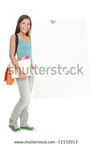 Blank sign student. Female college / university student holding blank billboard sign. Full length picture of a beautiful multiracial chinese / caucasian young woman model isolated on white - stock photo