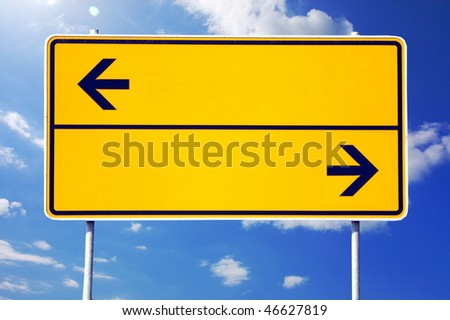 blank sign with arrows and copyspace for text message - stock photo