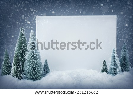 Blank sign with christmas decorations - stock photo