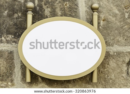 Blank signboard, detail of a sign with space for text, advertising - stock photo