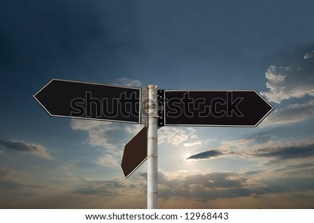 Blank signpost against amazin sky - stock photo