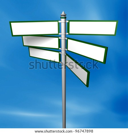 Blank signpost and Clipping path Precise clipping path included for easy background change