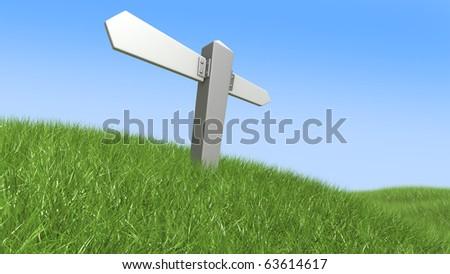 blank signpost, 3d illustration - stock photo