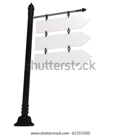Blank signpost, isolated in white, 3d illustration - stock photo