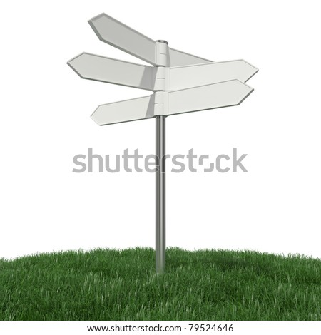 Blank signpost on grass - stock photo