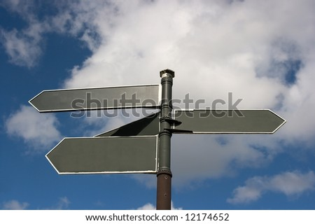 Blank signpost showing different directions - stock photo