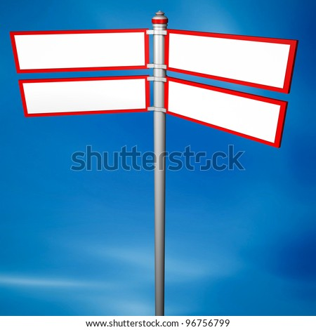 Blank signpost,with 4 arrows
