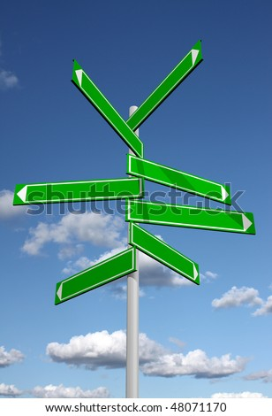 Blank signpost with sky background - stock photo