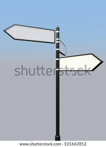Blank signpost with three arrows over blue and grey abstract background. 3d-illustration