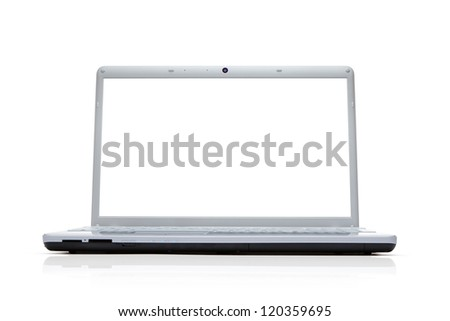 Blank silver laptop isolated on white background with clipping path for the screen