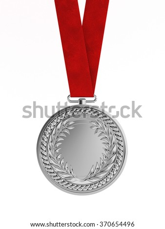 Blank silver medal with ribbon for second place championship isolated on white background - stock photo