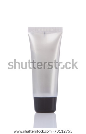 blank silver tube isolated on white