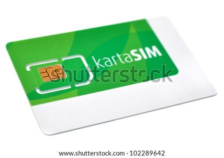 Blank sim card isolated - stock photo