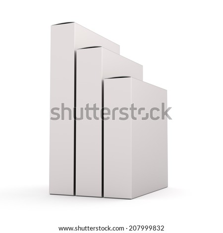 blank slender box vertical products template in perspective - stock photo