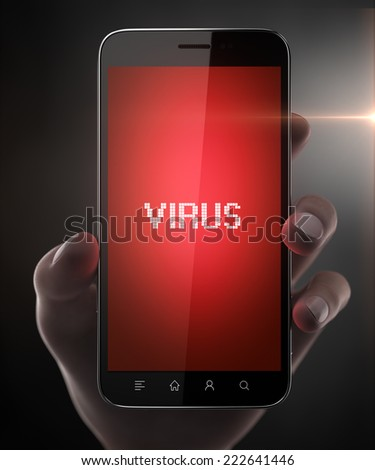 Blank smart phone with virus in woman hand - stock photo
