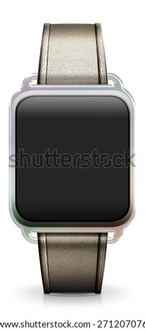 Blank Smart Watch with gold Fabric Strap - stock photo