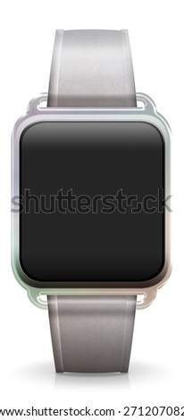 Blank Smart Watch with white leather Strap - stock photo