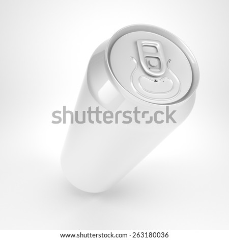 Blank soda or beer metal can wide angle view - stock photo