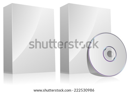 Blank software box with and without disc isolated on white. - stock photo