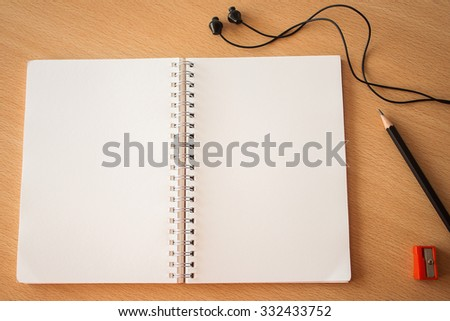 Blank space on notebook page for creative background and wording. dark tone image. - stock photo