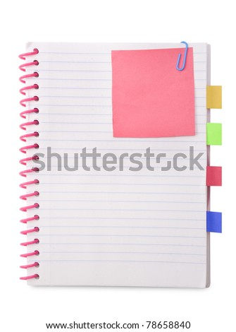 blank spiral book with red note paper - stock photo