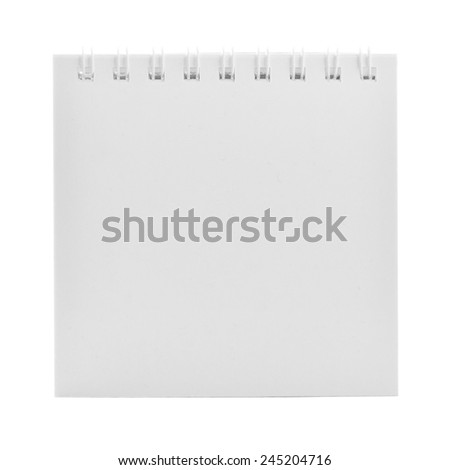 Blank spiral calendar paper sheet isolated on white background