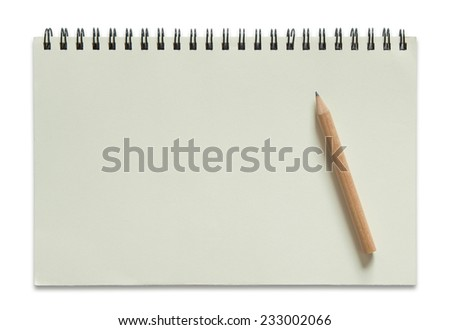 blank spiral notebook and pencil isolated on white background  - stock photo