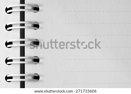 Blank Spiral Notebook with Line Paper Isolated on a White Background - stock photo