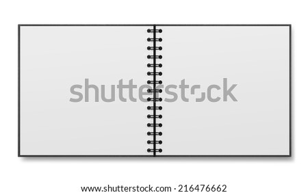 blank spiral notepad on white background - stock photo