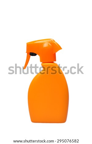 Blank spray cosmetic care lotion bottles isolated on white background - stock photo