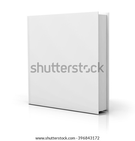 Blank square book cover over white background with reflection