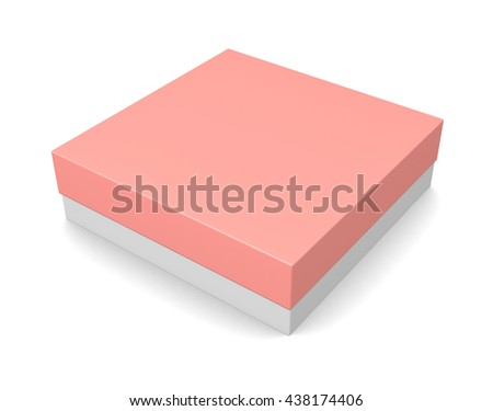 Blank square box with cover isolated on white background. 3d render