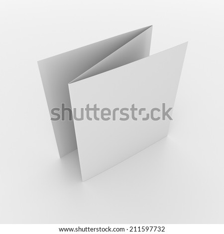 blank square brochures with three wings isolated on white. render