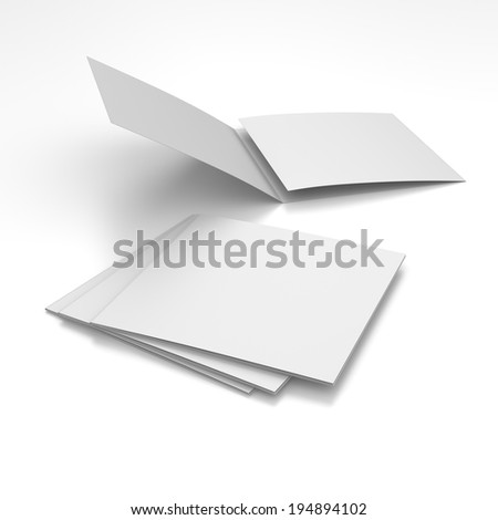 blank square leaflets with three wings isolated on white. render
