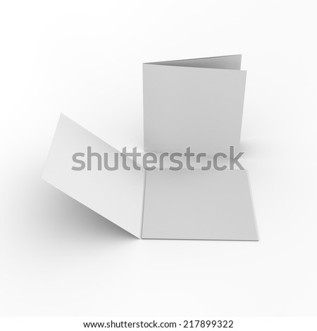 blank square leaflets with three wings isolated on white. render - stock photo
