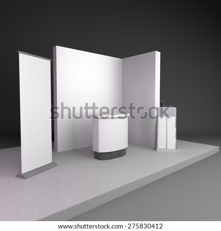 blank stand design in exhibition or trade fair - stock photo