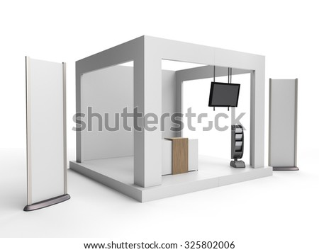 blank stand design in exhibition or trade fair with tv display - stock photo