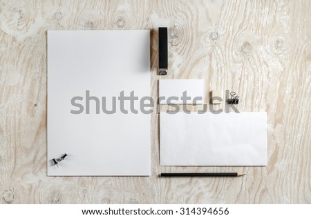 Blank stationery and ID template. Mock-up for branding identity for designers. Top view. - stock photo