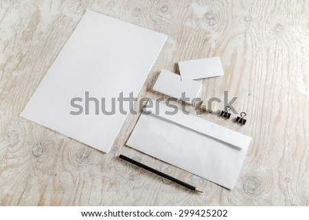Blank stationery. ID template. Mock-up for branding identity for designers. Top view. - stock photo
