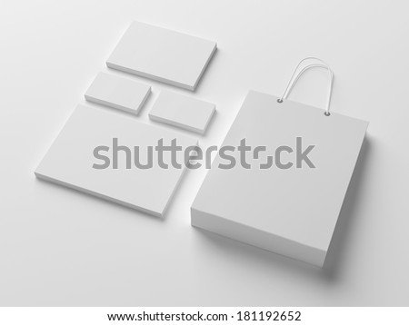Blank stationery isolated on white with soft shadows - stock photo