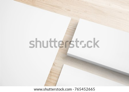 blank stationery on coffee color desk stock illustration 765452665